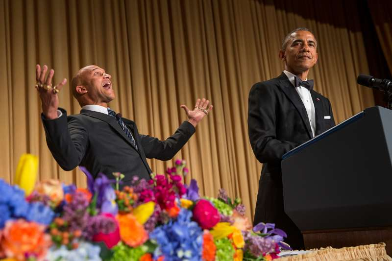 President Barack Obama, right, brings out actor Keegan-Michael Key from Key & Peele to play the part of  Luther, President Obama's anger translator  during his remarks at the White House Correspondents' Association dinner at the Washington Hilton last year.