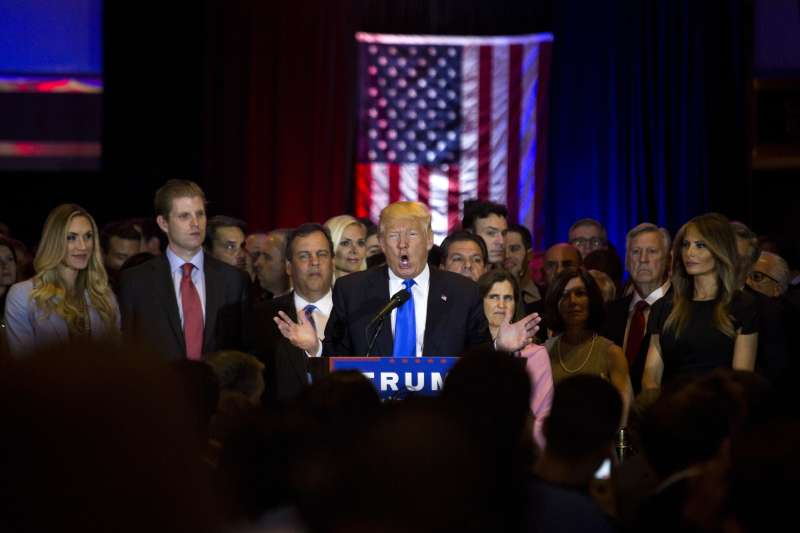 Donald Trump speaks during a campaign event in New York on Tuesday, April 26, 2016.