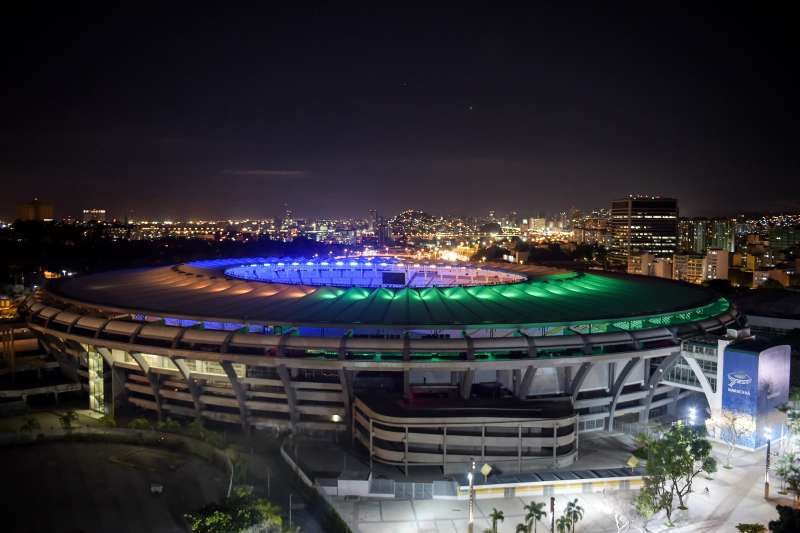 The Maracana Stadium is seen before the 2016 Earth Hour event on March 19, 2016 in Rio de Janeiro, Brazil.