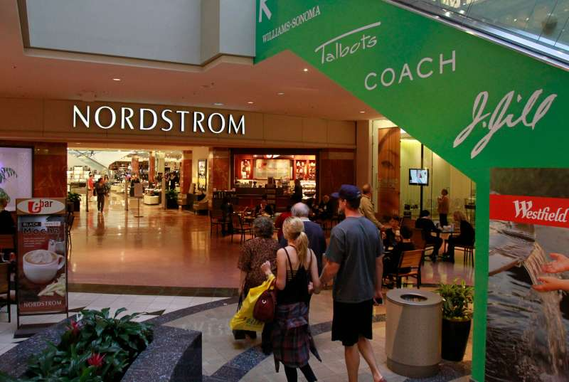 Shoppers enter Nordstrom's at the Westfield Santa Anita Mall.