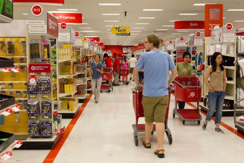 Back to school shoppers in Target store, Philadelphia, September 2010.