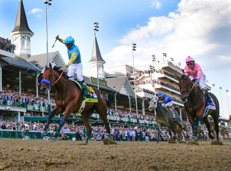 American Pharoah, with Victor Espinoza up, wins the 141st running of the Kentucky Derby at Churchill Downs in Louisville, Ky., on Saturday, May 2, 2015.