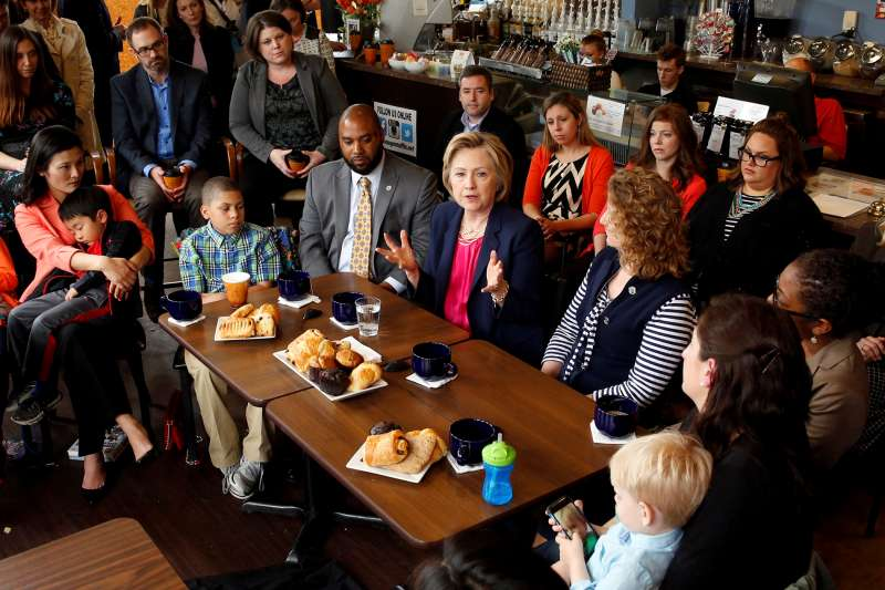 Democratic presidential candidate Hillary Clinton holds a discussion with women and families on work-life balance and family issues during a visit to a cafe in Stone Ridge in Loudon County, Virginia May 9, 2016.