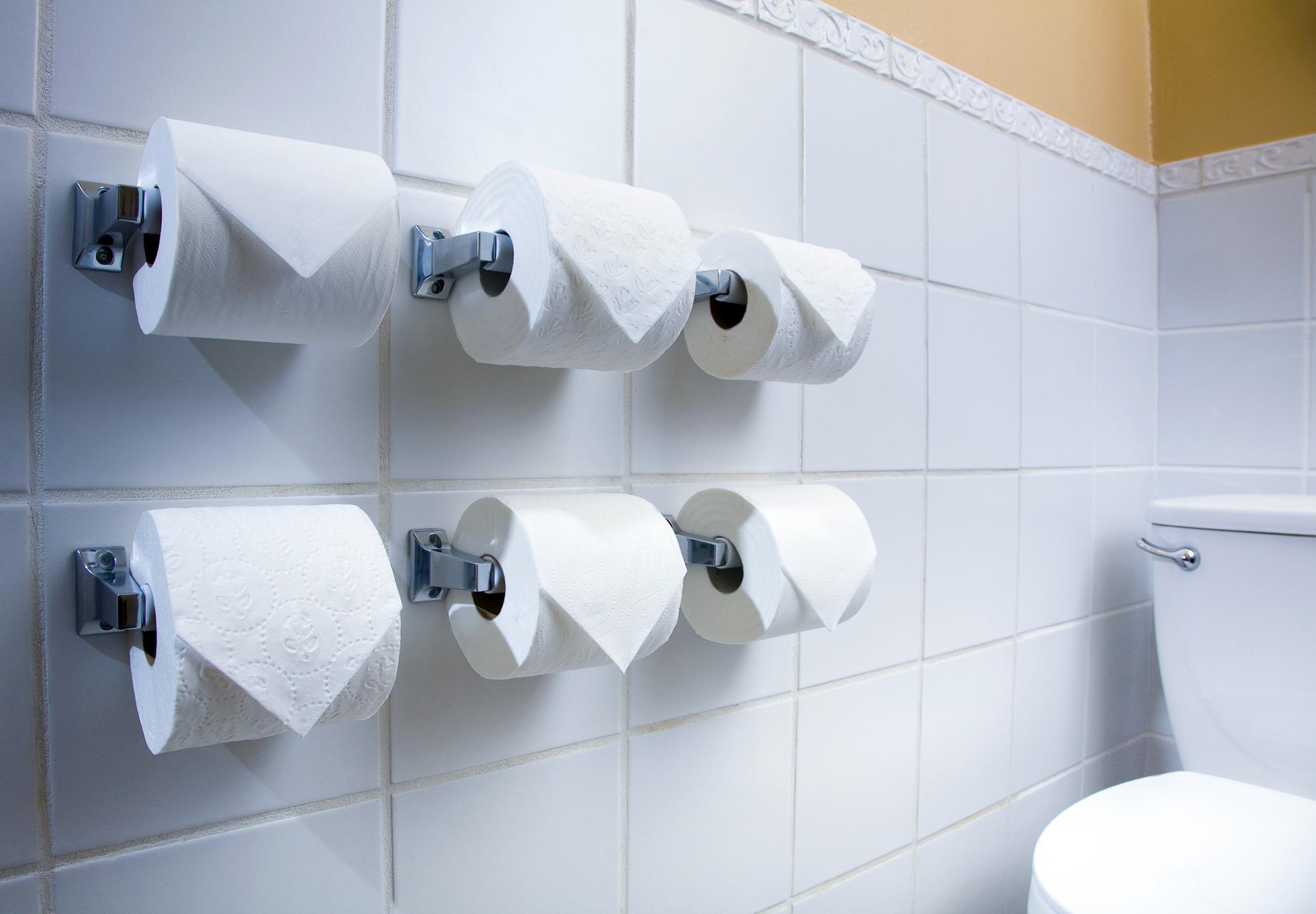 toilet paper rolls in public restroom