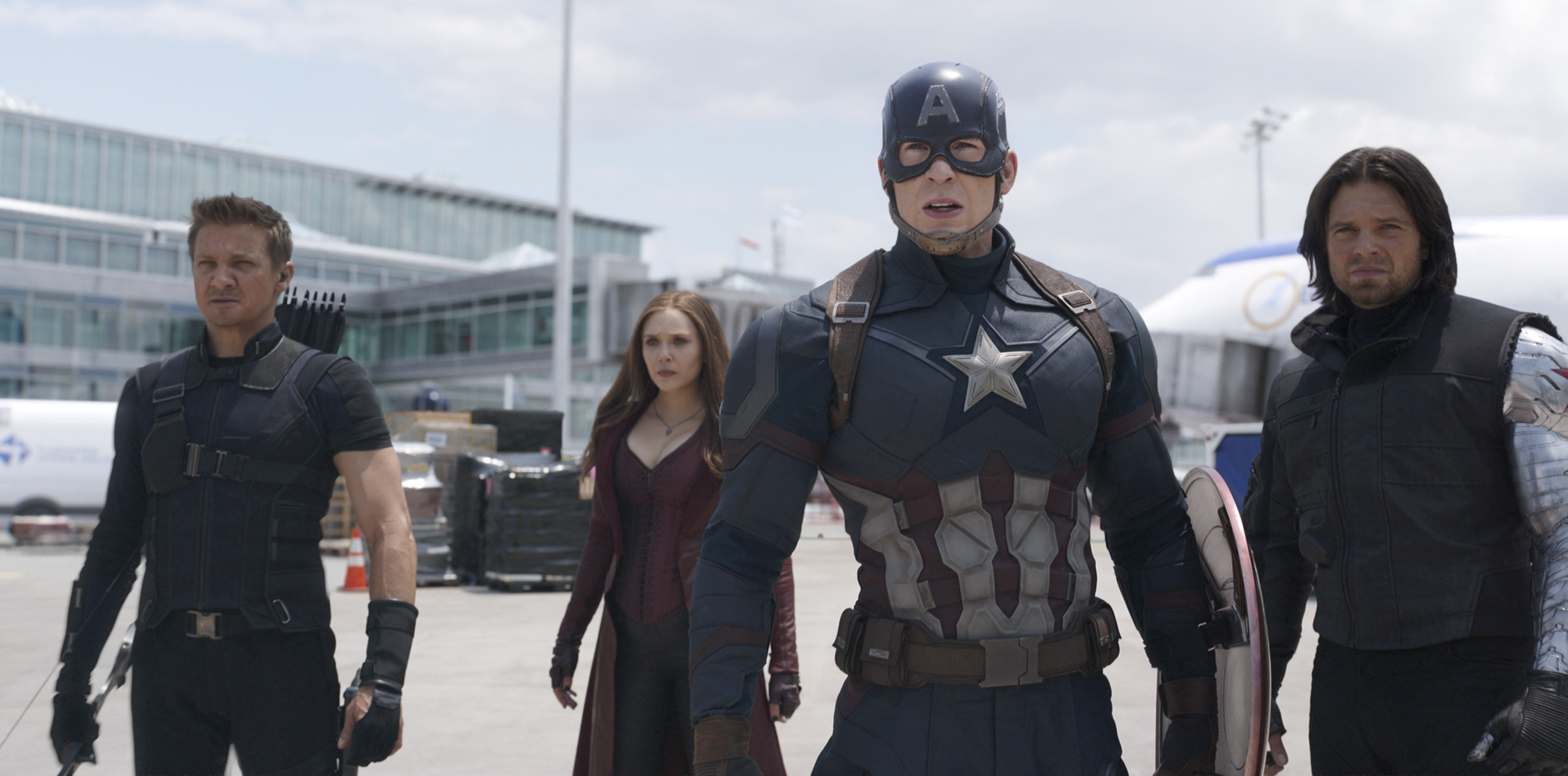 Marvel's Captain America: Civil War..L to R: Hawkeye/Clint Barton (Jeremy Renner), Scarlet Witch/Wanda Maximoff (Elizabeth Olsen), Captain America/Steve Rogers (Chris Evans), and Winter Soldier/Bucky Barnes (Sebastian Stan).