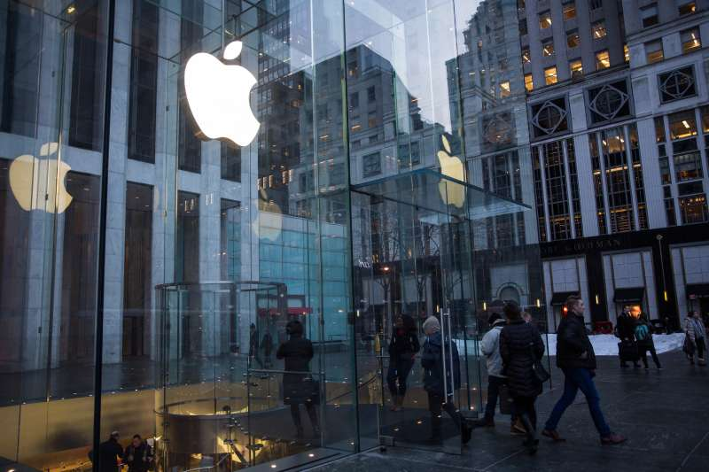 The Apple store on Fifth Avenue is seen on January 26, 2016 in New York City.