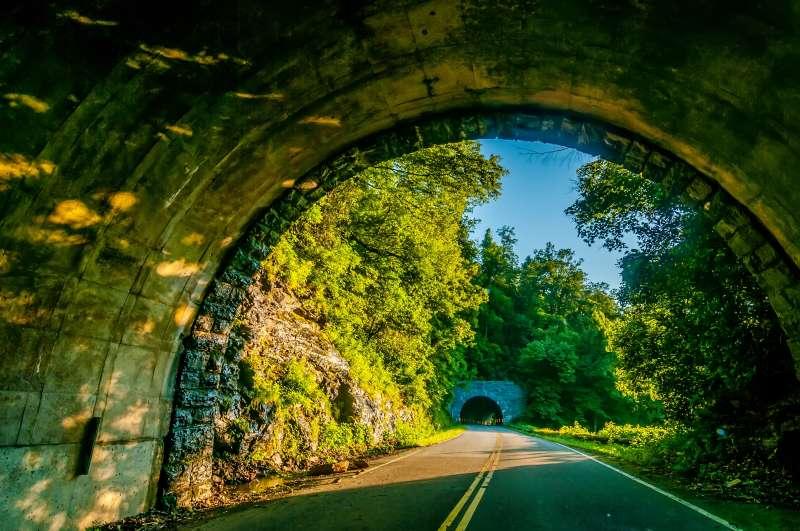 Twin tunnel along the Blue Ridge Parkway.