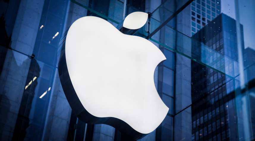 Company logo of Apple on an Apple store in Manhattan on February 25, 2016 in New York