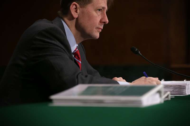 Richard Cordray, director of the CFPB testifies in front of Congress. The agency put out a proposed rule Thursday that would ban banks and credit card companies from requiring mandatory arbitration in new customer contracts.