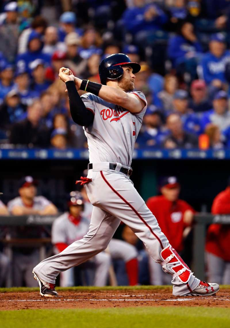 Bryce Harper #34 of the Washington Nationals in action during the game against the Kansas City Royals on May 02, 2016 in Kansas City, Missouri.
