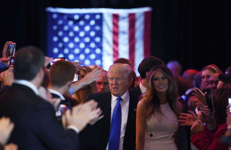US Republican presidential candidate Donald Trump greets his supporters.