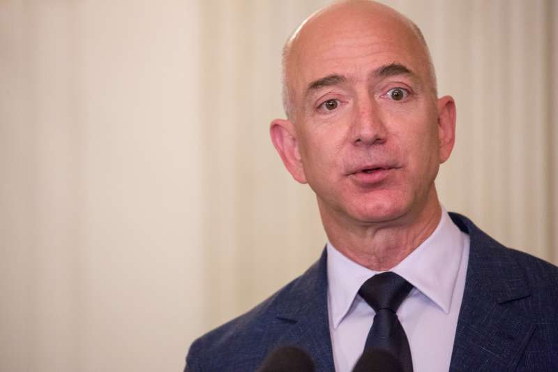 Amazon CEO Jeff Bezos speaks at the Joining Forces 5th Anniversary event at the White House.