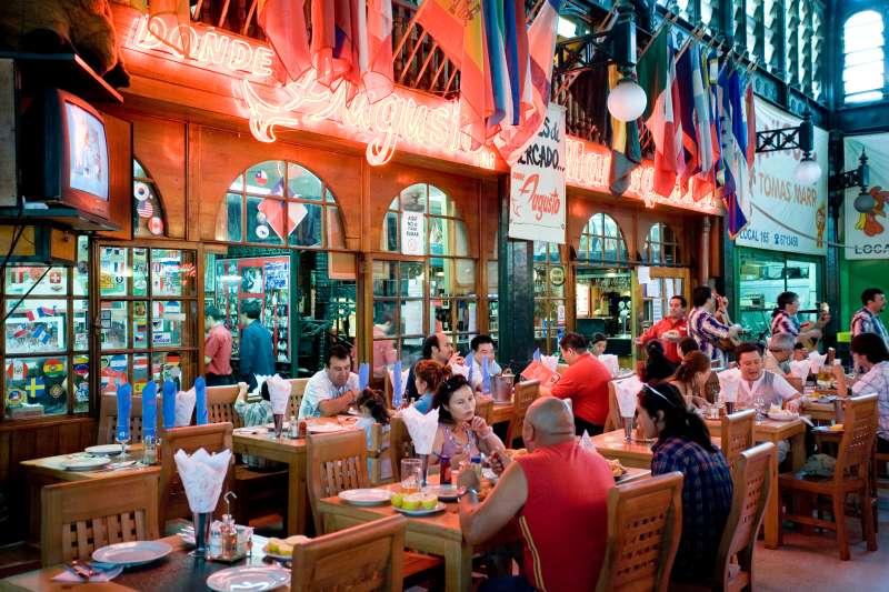 Restaurant in Mercado Central de Santiago, Chile