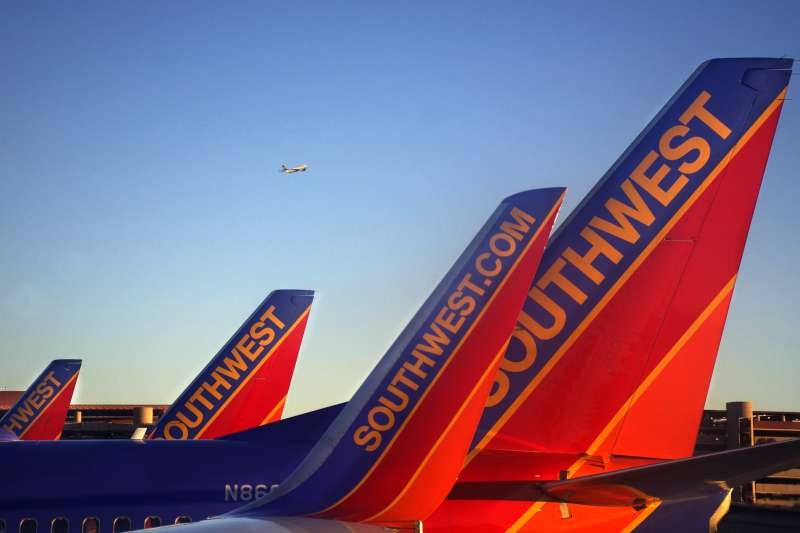LAS VEGAS, NV - MARCH 31:  Southwest Airlines passenger aircraft parked at their gates at McCarran International Airport in Las Vegas, Nevada, on March 31, 2016.