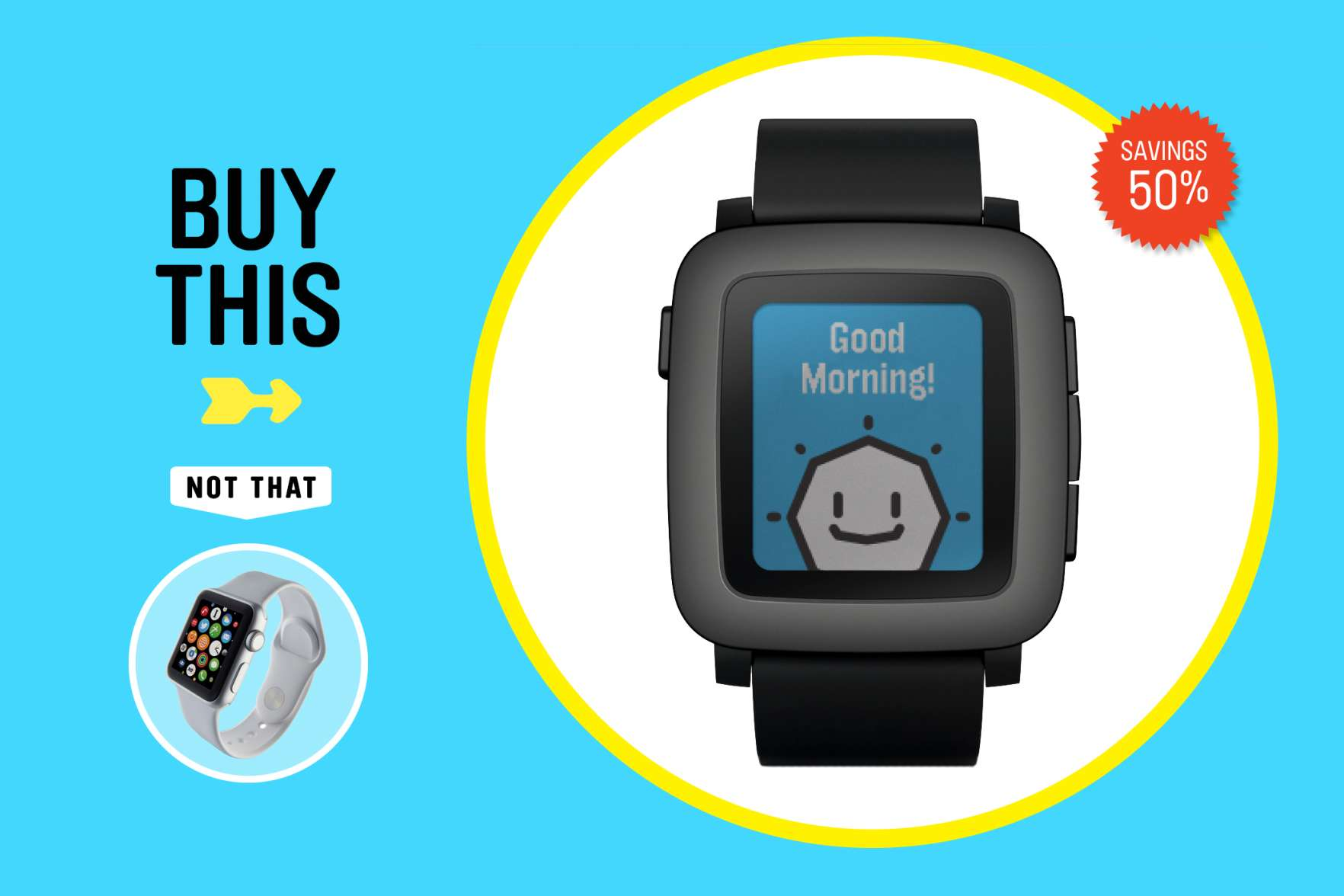 A good smartwatch tells time (natch) and notifies you about important calls, messages, and appointments. Everything else: fluff. The Pebble Time ($150) for Android and iPhone features an always-on screen that requires charging only once per week. The Apple Watch Sport ($299) does more, but it requires daily charging and works only with iPhones.