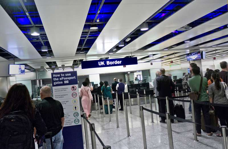 UK biometric passport Border Control queue for arriving passengers at London Heathrow airport Terminal 3, September 11, 2012.