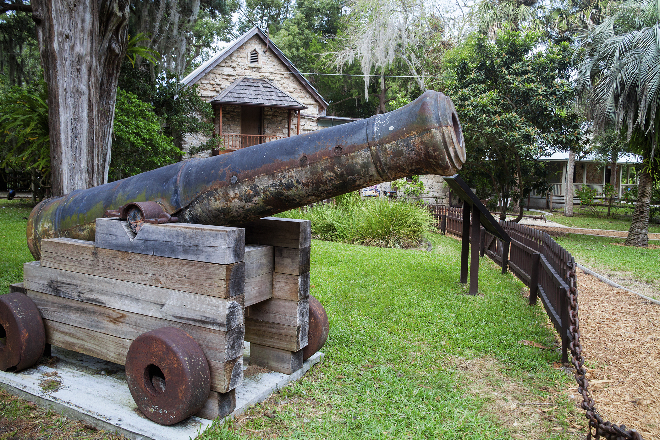 A replica of a cannon from the USS Constitution (Old Ironsides) at the Fountain of Youth. Ponce de Leon's Fountain of Youth Archaeological Park, St. Augustine Florida is in the area first explored by Juan Ponce de Leon in 1513 and later settled by Pedro Menendez de Aviles in 1565. At the Park, you can drink from the fountain which Ponce de Leon thought was the fountain of youth. St. Augustine is the oldest European settlement in the United States.