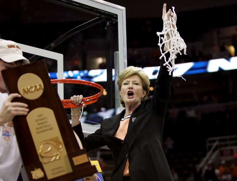 Head coach Pat Summitt of the Tennessee Lady Volunteers celebrates after cutting down the net after Tennessee's 59-46 win against the Rutgers Scarlet Knights to win the 2007 NCAA Women's Basketball Championship Game at Quicken Loans Arena on April 3, 2007 in Cleveland, Ohio.