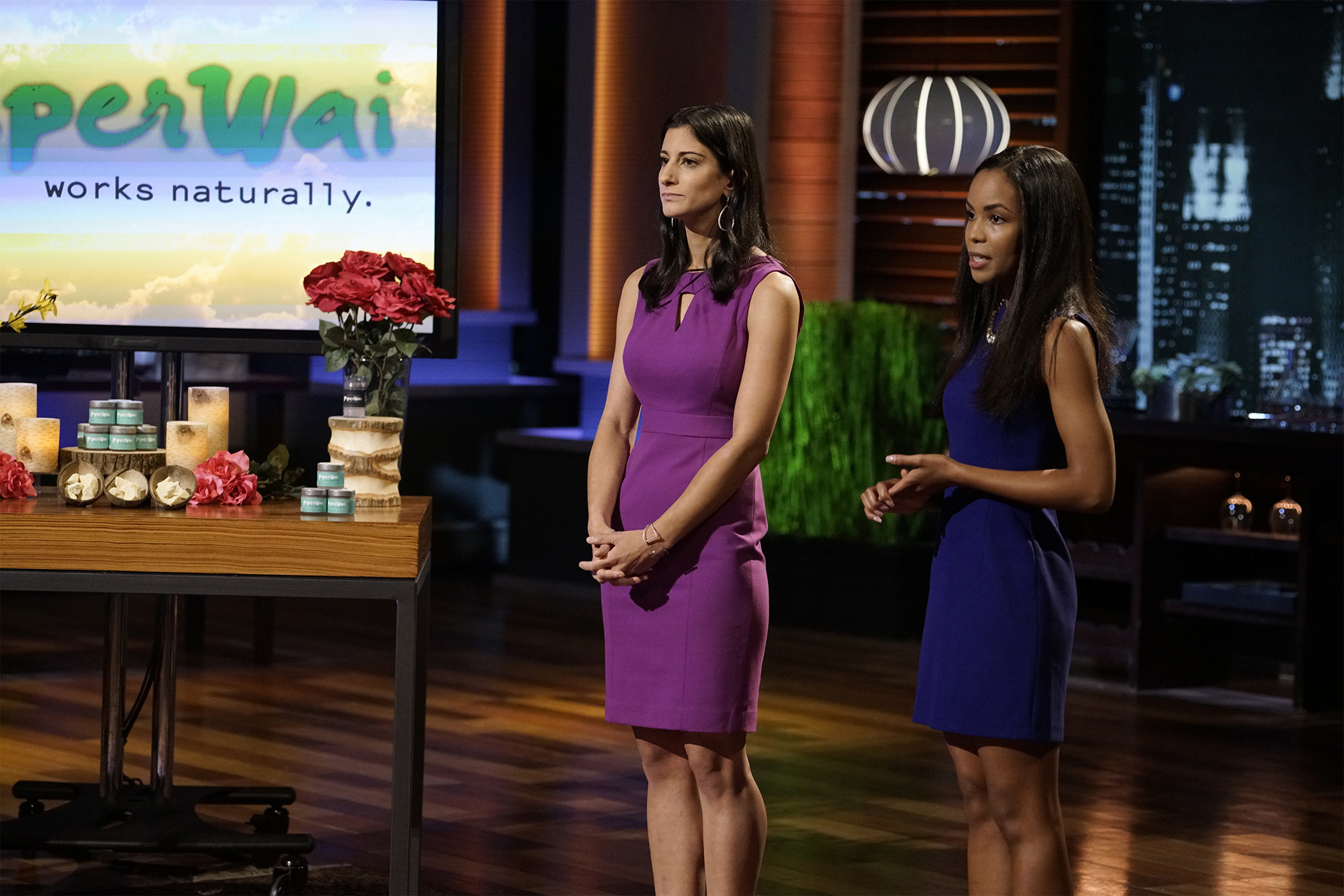 On  Shark Tank  TV show, two young business owners demonstrate their natural deodorant.