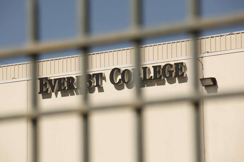 ALHAMBRA, CA - APRIL 27:  Everest College is seen through the outer gates on April 27, 2015 in Alhambra, California. Corinthian Colleges Inc., a Santa Ana company that was once one of the nation's largest for-profit college chains, announced that it would be shutting down its remaining two dozen schools effective - a move that leaves 16,000 students scrambling for alternatives. (Photo by Al Seib / Los Angeles Times via Getty Images)