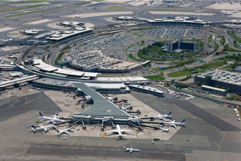 Aerial view of Newark Airport.
