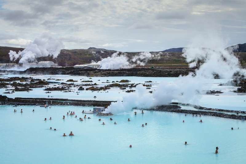 Tourists bathe in Iceland's Blue Lagoon.