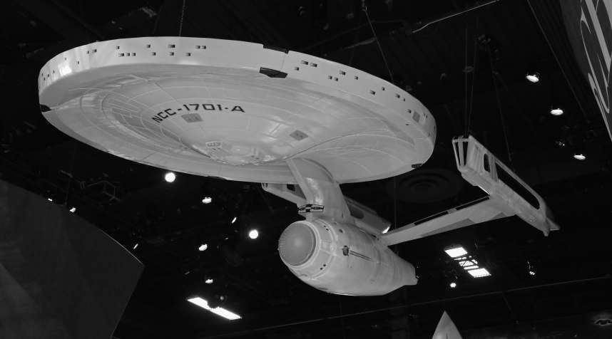 A model of the USS Enterprise from the 'Star Trek' movie franchise .