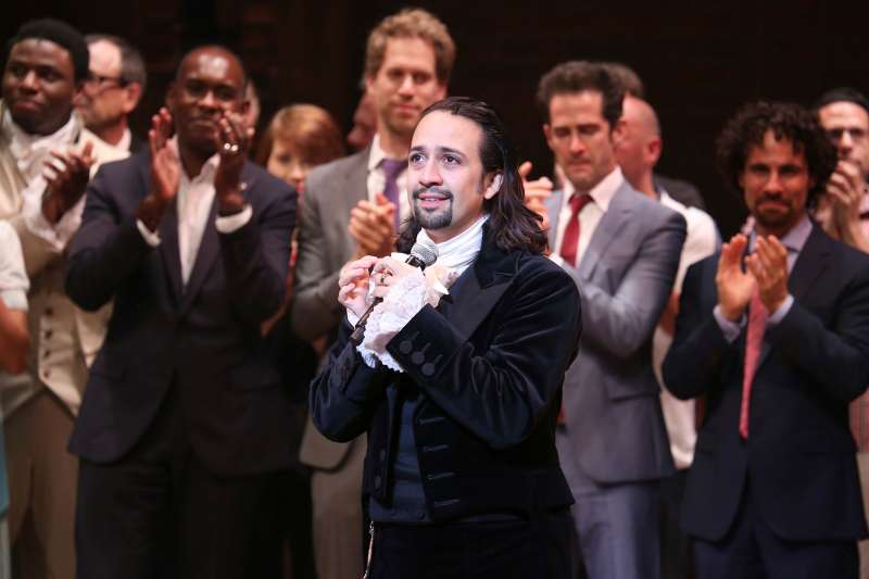 Lin-Manuel Miranda and creative team during the Broadway opening night performance of  Hamilton  in August 2015.