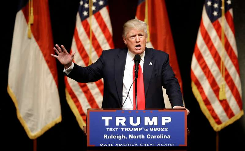 Republican Presidential candidate Donald Trump speaks at a rally in Raleigh, N.C., July 5, 2016.
