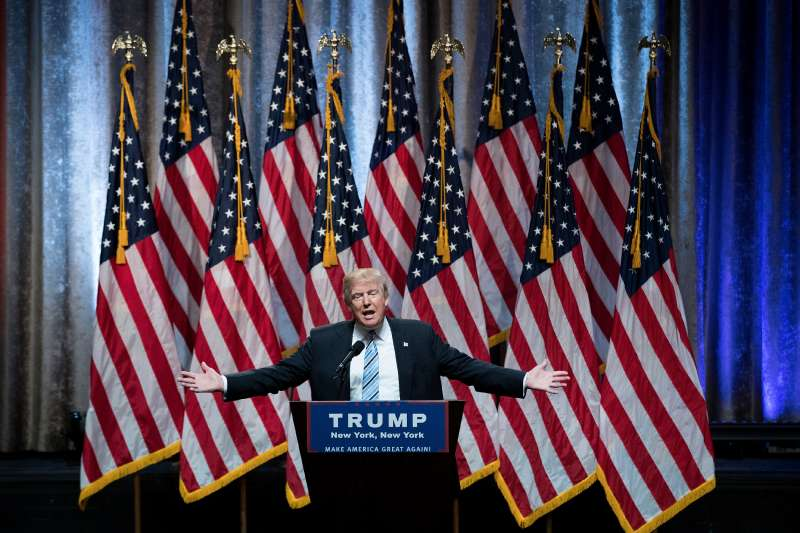 Republican presidential candidate Donald Trump speaks before introducing his newly selected vice presidential running mate Mike Pence, governor of Indiana, during an event at the Hilton Midtown Hotel, July 16, 2016 in New York City. On Friday, Trump announced on Twitter that he chose Pence to be his running mate.