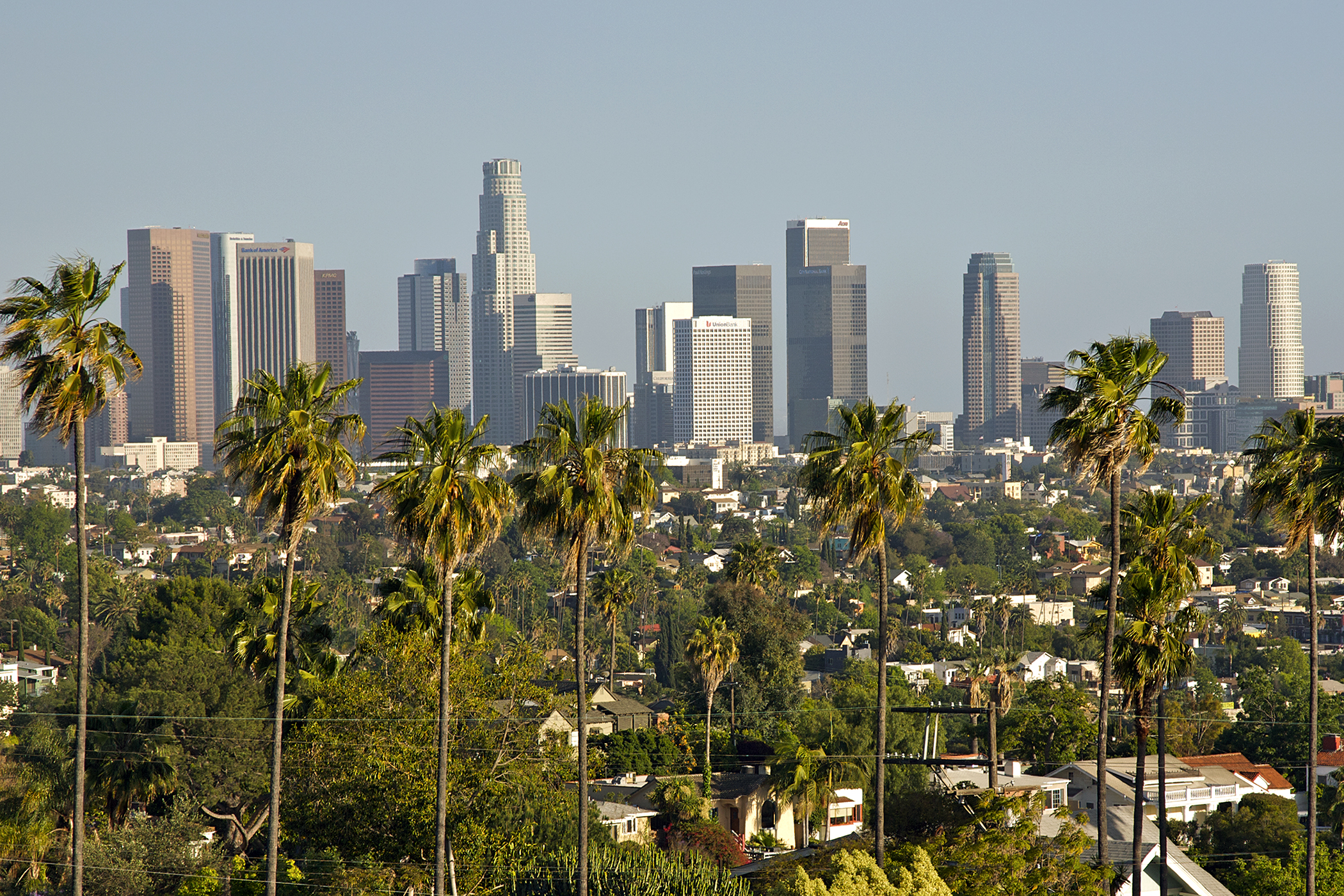 View of downtown Los Angeles from Silver Lake, California