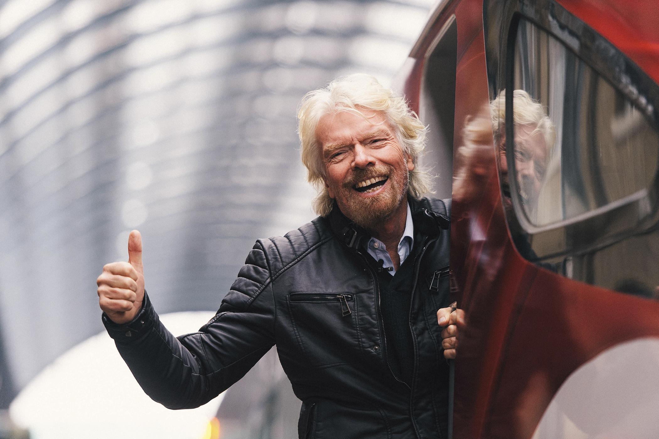 Sir Richard Branson unveils the new Virgin Azuma train, Kings Cross Station, London, March 18, 2016.
