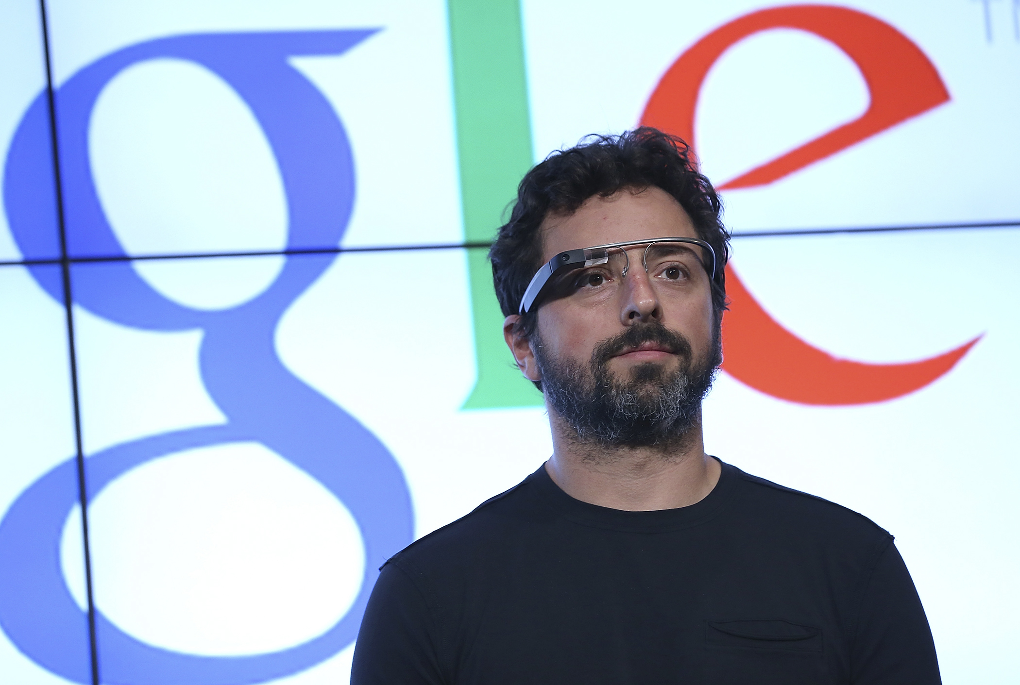 Google co-founder Sergey Brin looks on during a news conference at Google headquarters on September 25, 2012 in Mountain View, California.