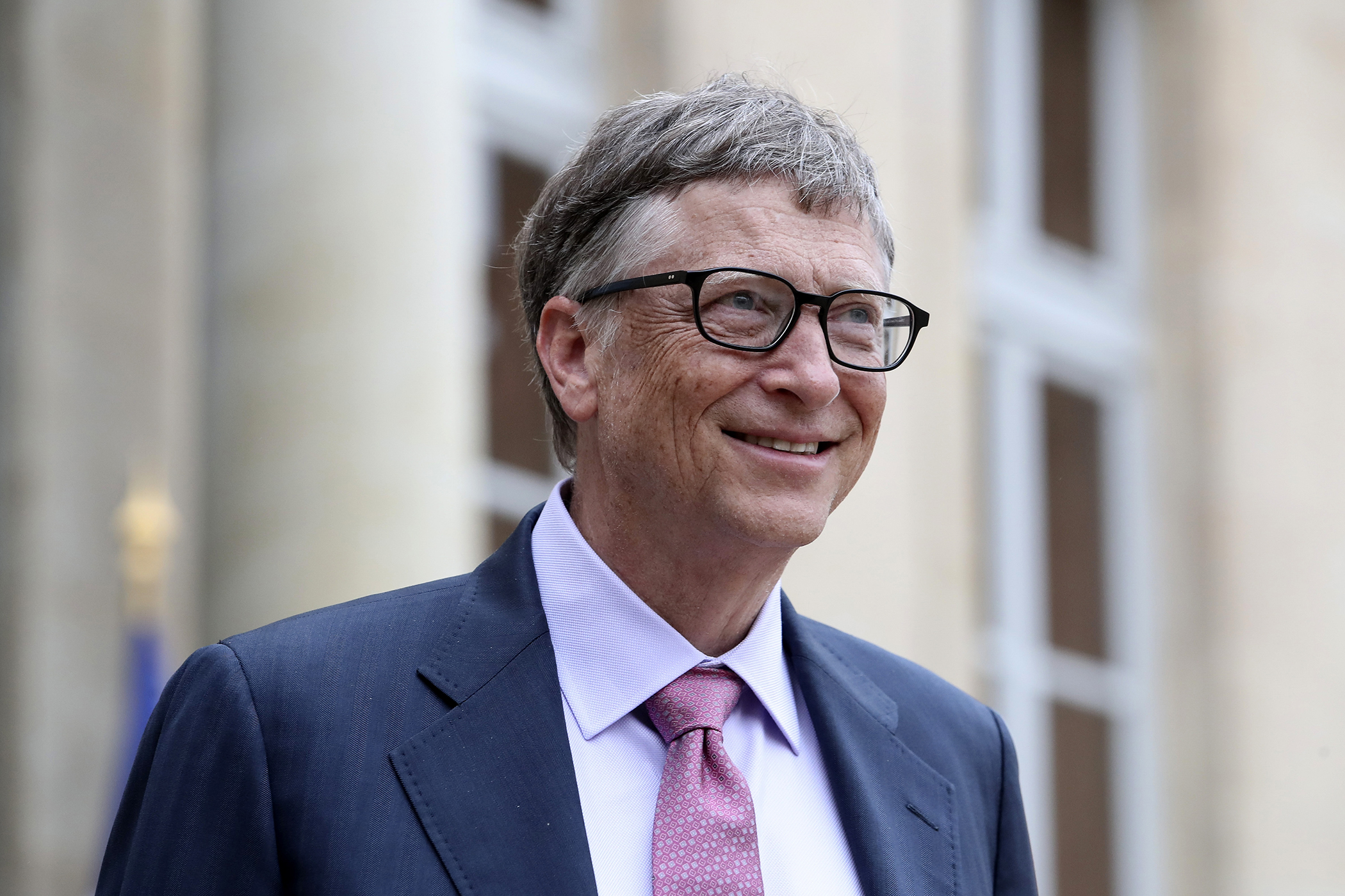 Philanthropist and co-founder of Microsoft, Bill Gates, leaves after a meeting with France's President Francois Hollande at the Elysee Palace in Paris, Monday, June 27, 2016.