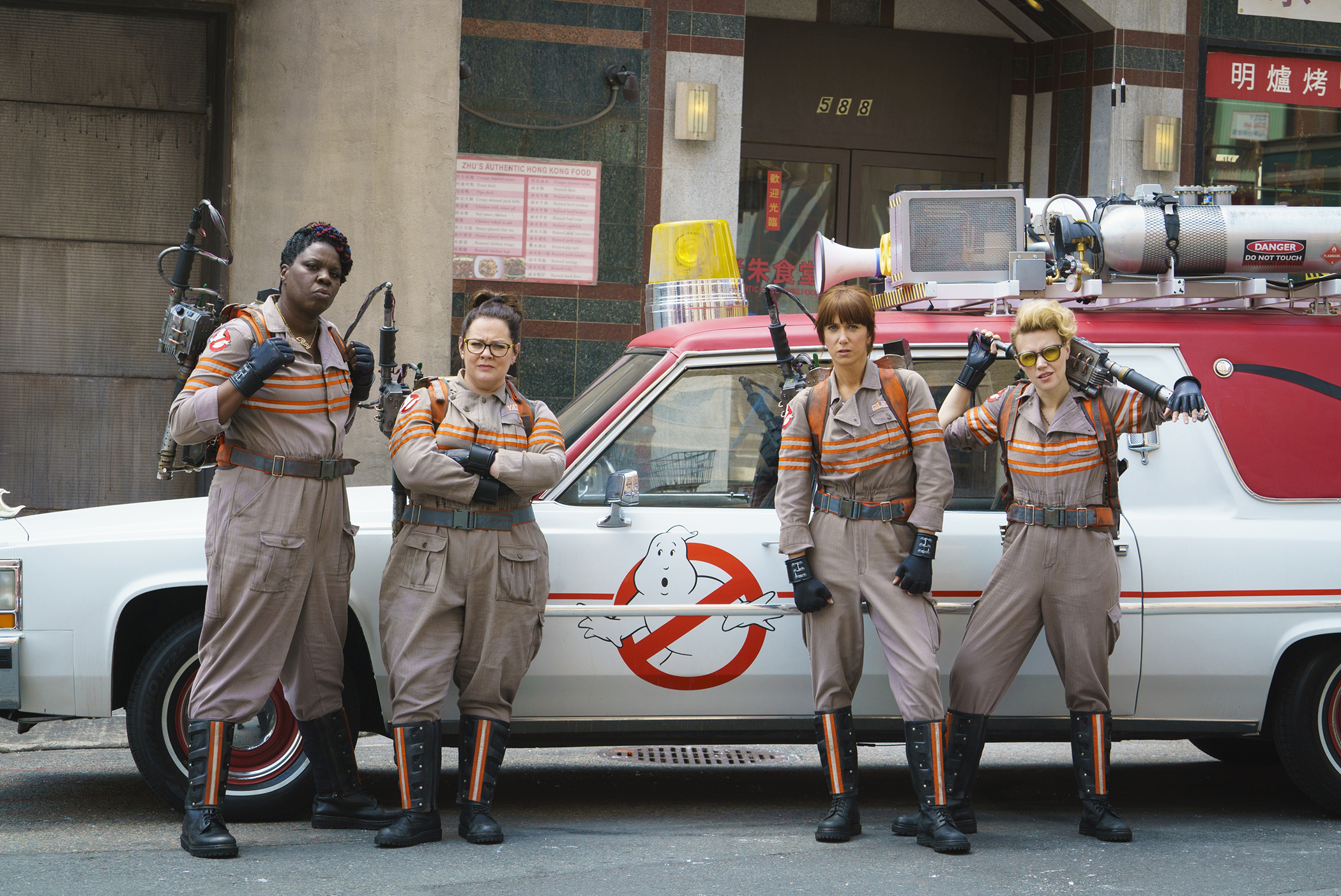 The stars of the new  Ghostbusters  movie.