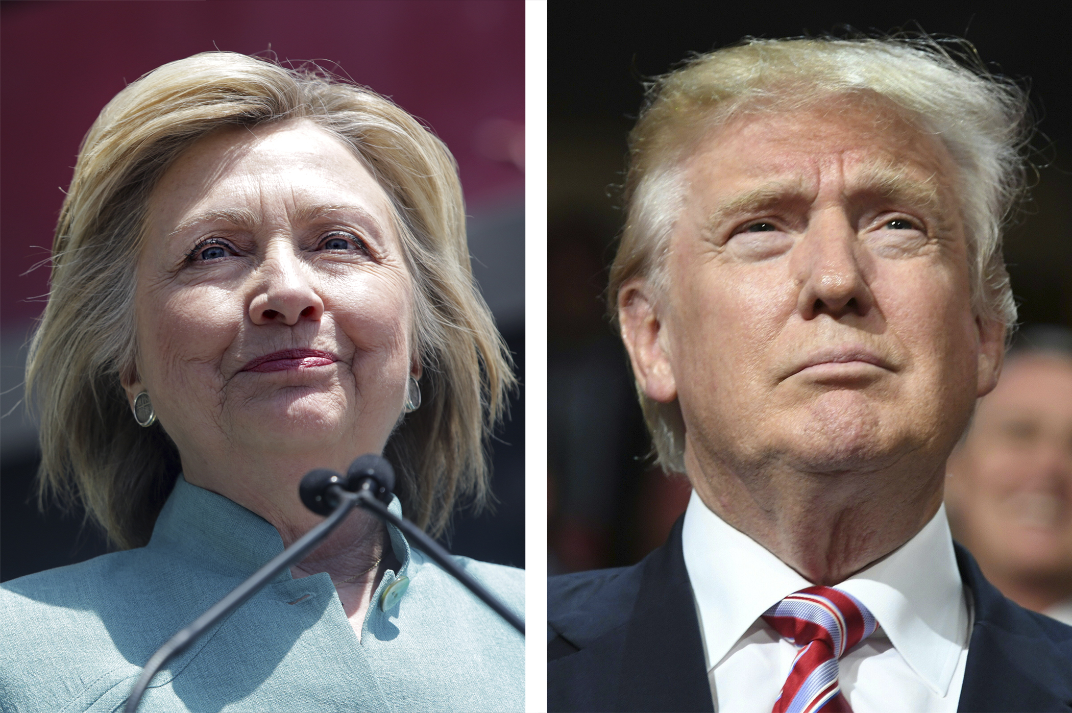(left) Democratic Presidential candidate Hillary Clinton; (right) Republican Presidential candidate Donald Trump