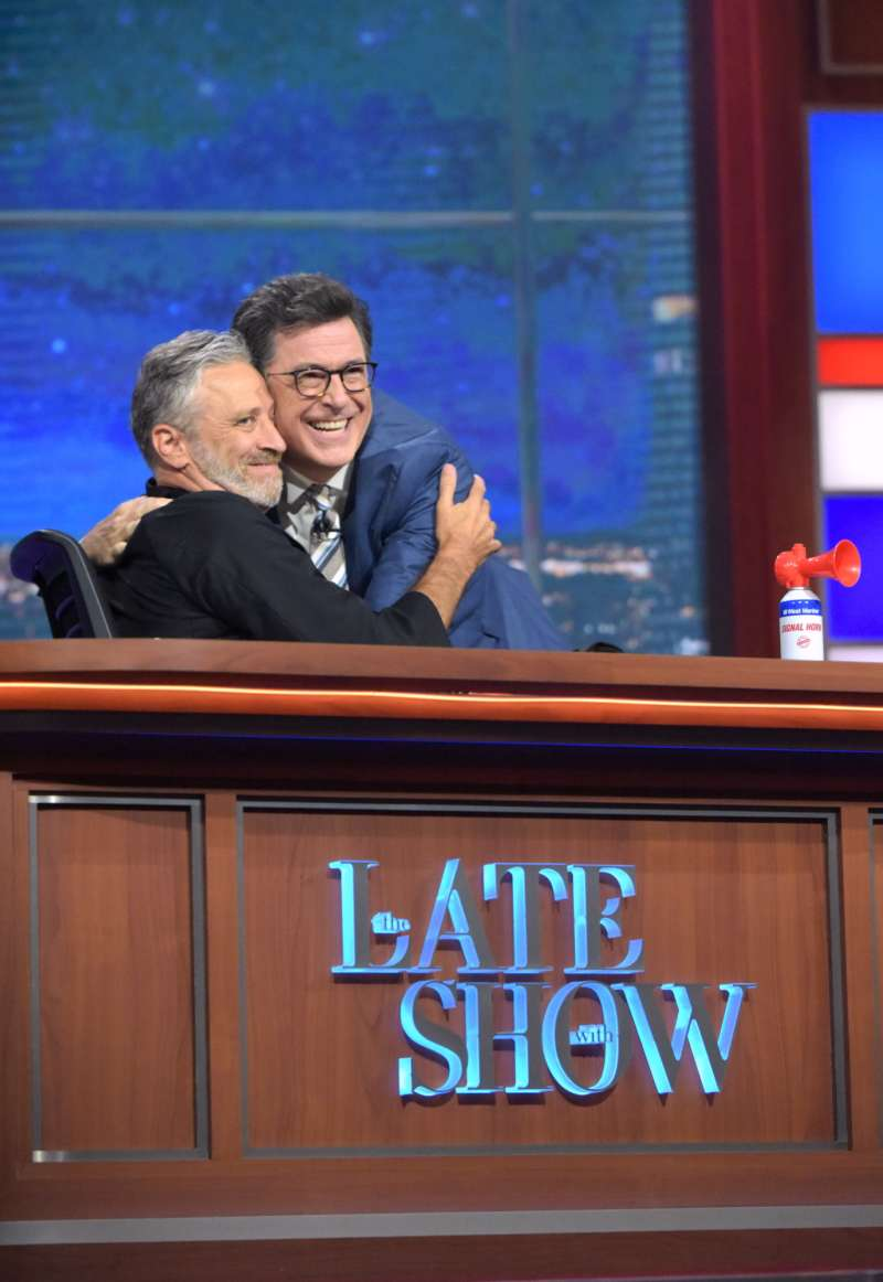 Guest John Stewart appears on The Late Show with Stephen Colbert which aired live, Thursday July 21, 2016 in New York. With guest John Stewart.