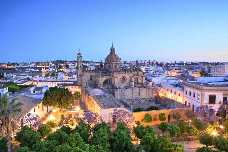 The Cathedral of San Salvador at Dawn in Jerez de la Frontera, Spain.