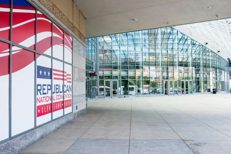 Windows of Quicken Loans Arena are decorated for the Republican National Convention on July 11, 2016 in Cleveland, Ohio.
