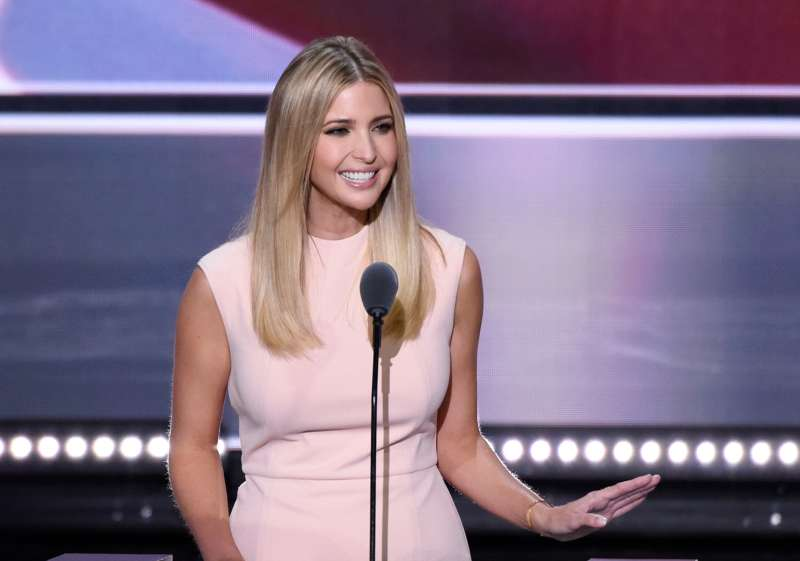 Ivanka Trump introduces her father at the Republican National Convention wearing a $138 dress she designed herself.
