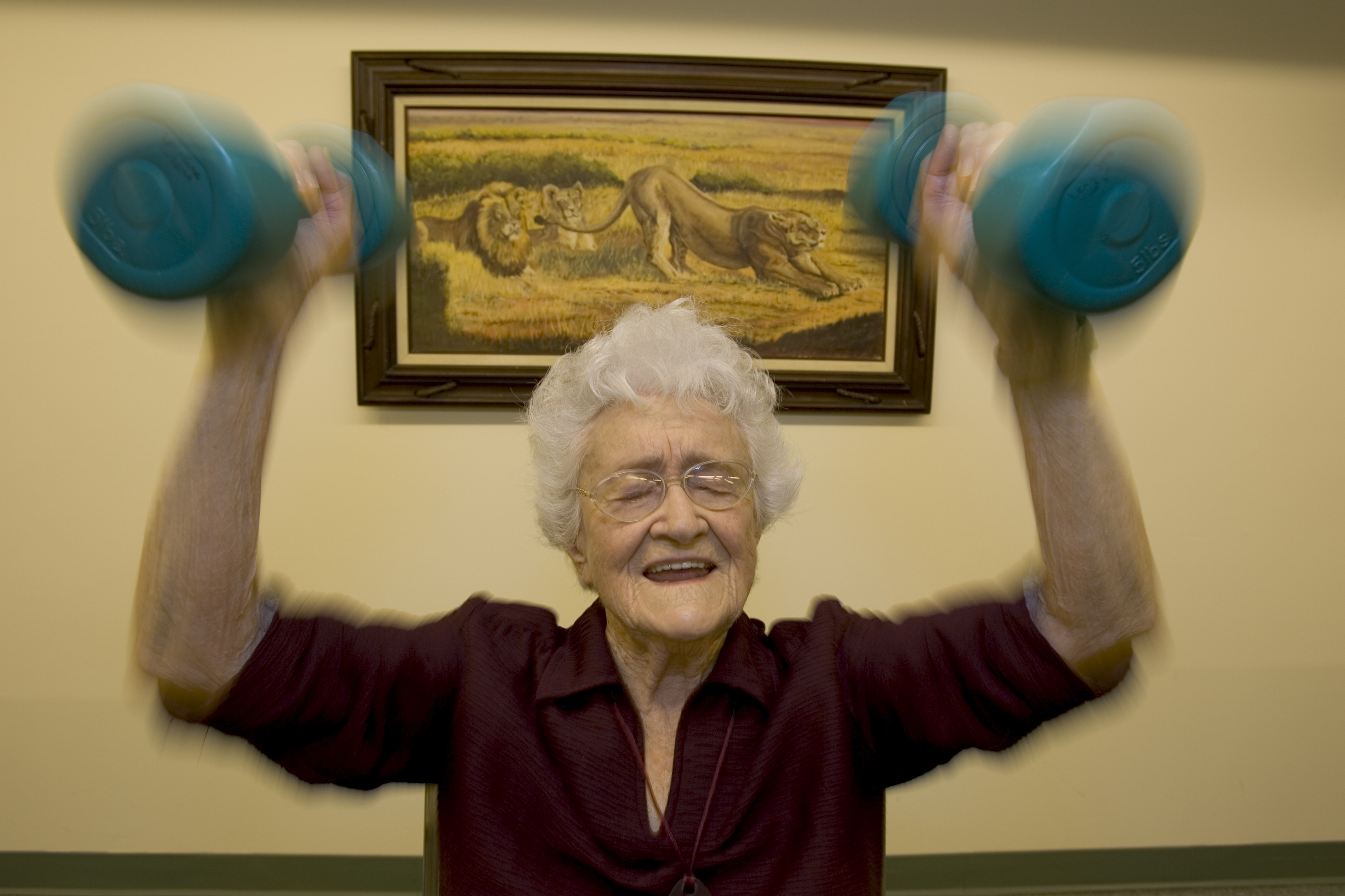 Marge Jetton, shown here at age 100, lifted weights every day. Her life story was featured in a National Geographic story on longevity in 2005, and she died at age 106 in 2011.