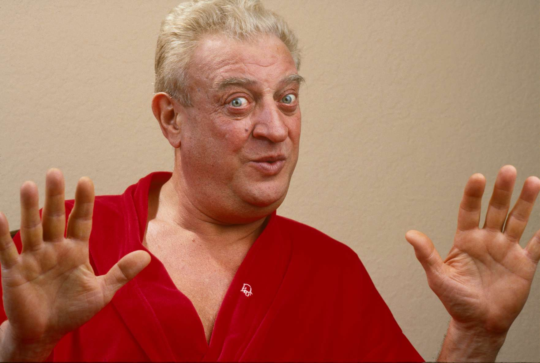 BEVERLY HILLS, CA - 1987:  Comedian and film star Rodney Dangerfield poses during a 1987 Beverly Hills, California, photo portrait session to promote his return to Las Vegas. Dangerfield starred in several hit movies including,  Caddyshack,   Easy Money,  and  Back to School.  He died of heart complications in 2004. (Photo by George Rose/Getty Images)