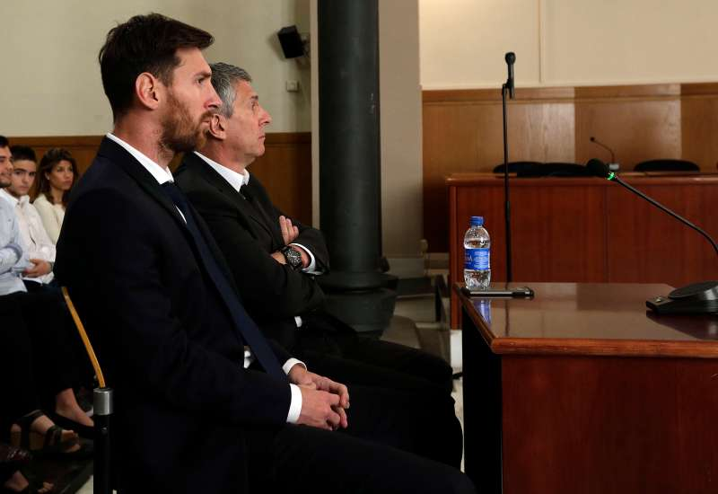 Lionel Messi of FC Barcelona and his father Jorge Horacio Messi seen inside the court during the third day of the trial on June 2, 2016 in Barcelona, Spain. Lionel Messi and his father Jorge Messi, who manages his financial affairs, are accused of defrauding the Spanish Tax Agency of 4.1 million Euros ($4.6 million, £3.2 million) by using companies based in tax havens such as Belize and Uruguay to conceal earnings from image rights during years 2007 to 2009.