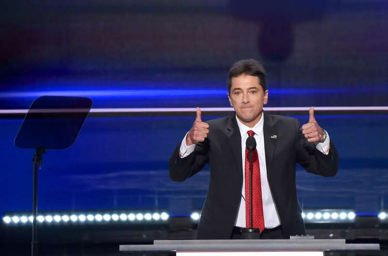 Actor Scott Baio speaks on the first day of the Republican National Convention in Cleveland.
