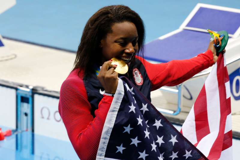 USA's Simone Manuel and Canada's Penny Oleksiak won the final of the 100m freestyle women in the swimming event in Olympic Swimming Pool, Rio, Brazil on August 10th, 2016.