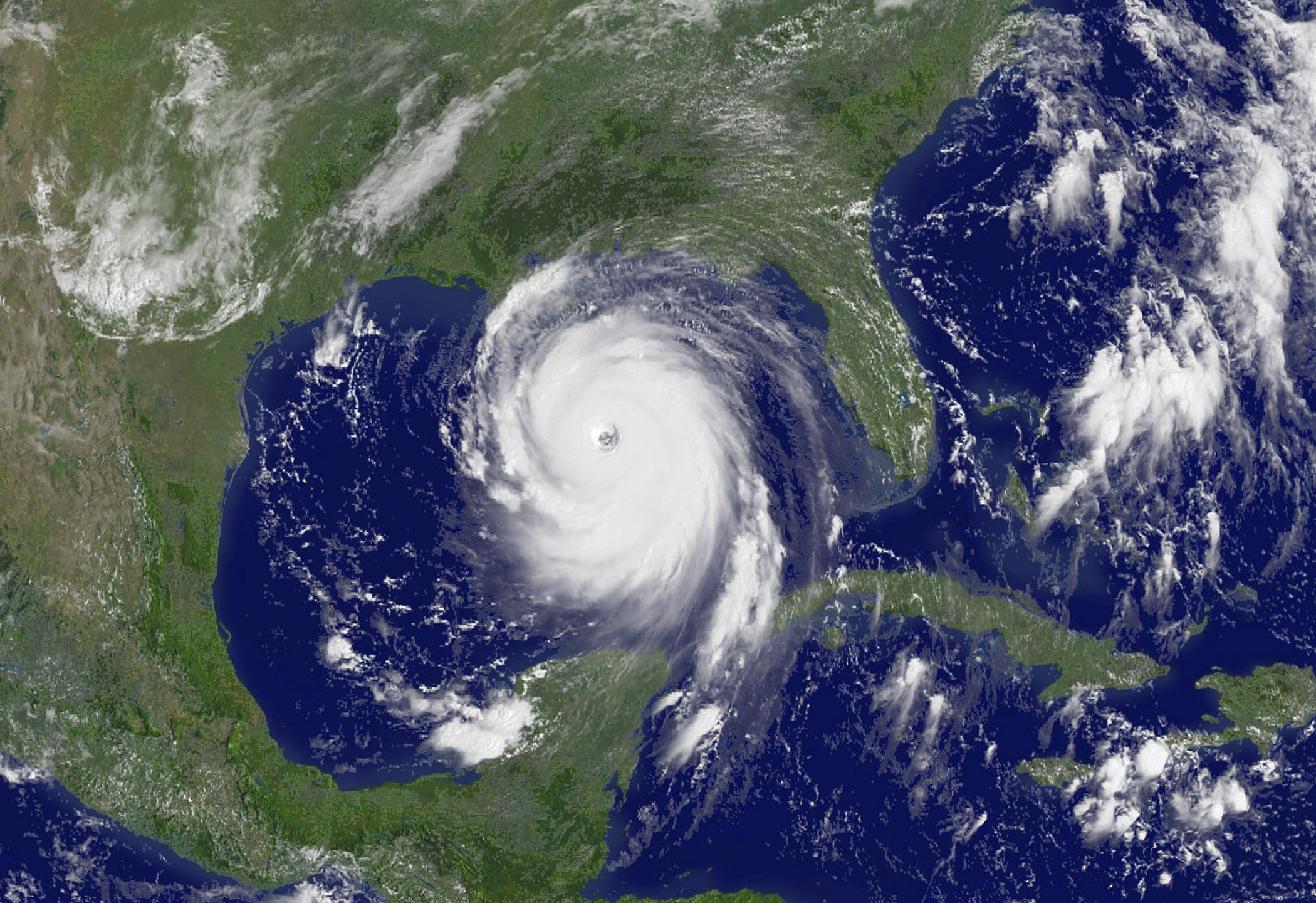 National Oceanic and Atmospheric Administration satellite image of Hurricane Katrina in the Gulf of Mexico on August 28, 2005.