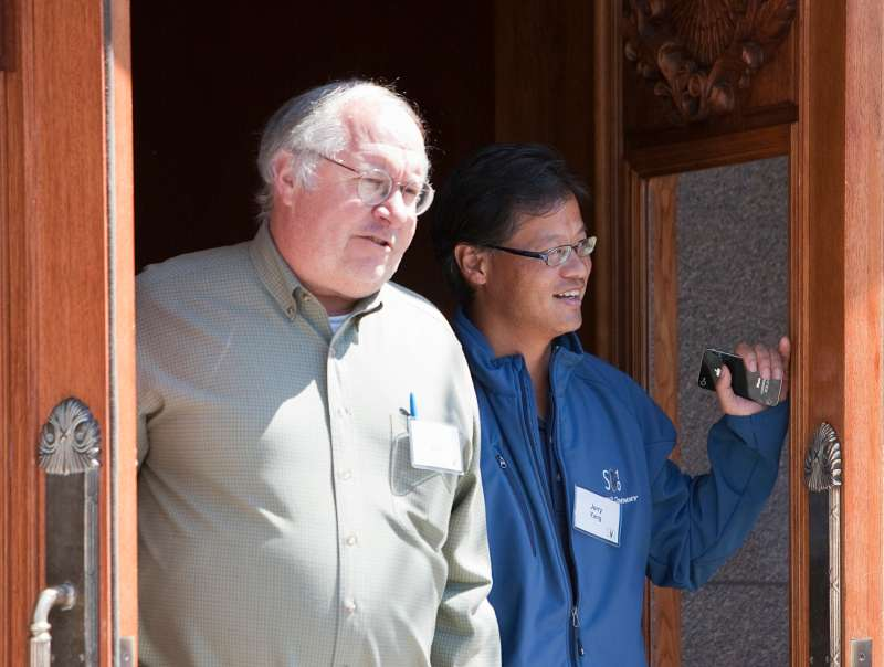 Bill Miller of Legg Mason Capital Management, left, and Jerry Yang, formerly of Yahoo, leave the morning session at the annual Allen & Co. Media summit in Sun Valley, Idaho, July 9, 2010.