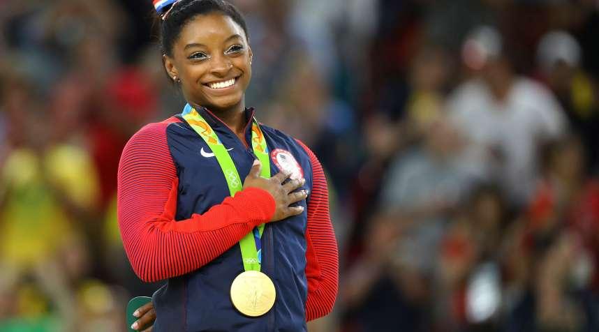 Gold medalist gymnast Simone Biles of Team USA.