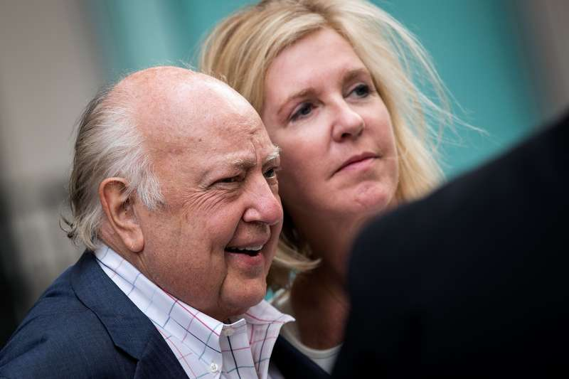 NEW YORK, NY - JULY 19: Fox News chairman Roger Ailes walks with his wife Elizabeth Tilson as they leave the News Corp building, July 19, 2016 in New York City. As of late Tuesday afternoon, Ailes and 21st Century Fox are reportedly in discussions concerning his departure from his position as chairman of Fox News. (Photo by Drew Angerer/Getty Images)