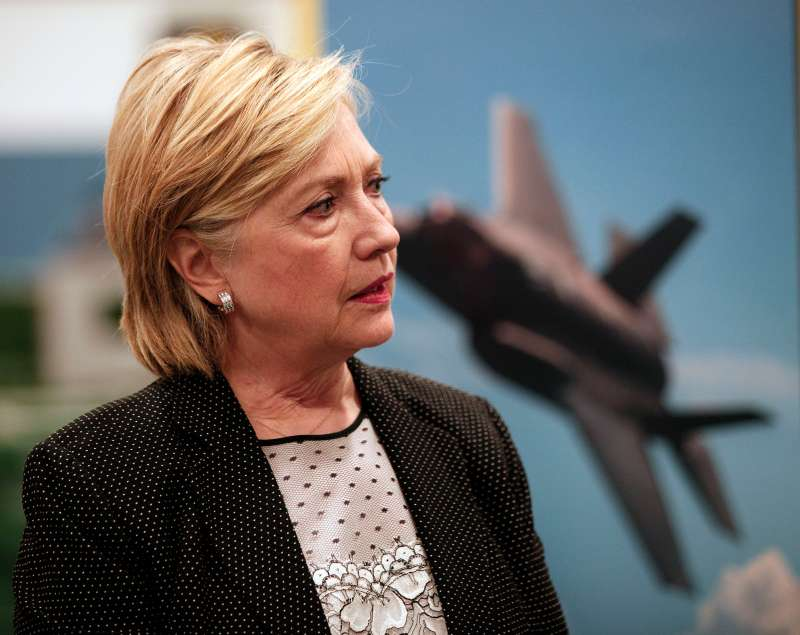 Democratic presidential nominee Hillary Clinton tours Futuramic Tool and Engineering before giving a speech there on the U.S. economy August 11, 2016 in Warren, Michigan.